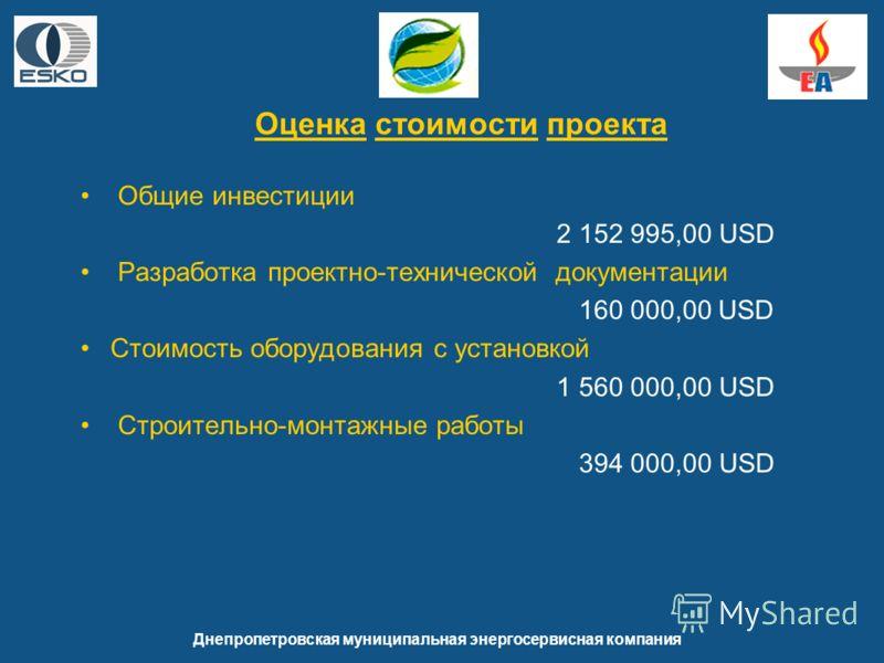 Общие инвестиции 2 152 995,00 USD Разработка проектно-технической документации 160 000,00 USD Стоимость оборудования с установкой 1 560 000,00 USD Строительно-монтажные работы 394 000,00 USD Днепропетровская муниципальная энергосервисная компания Оце