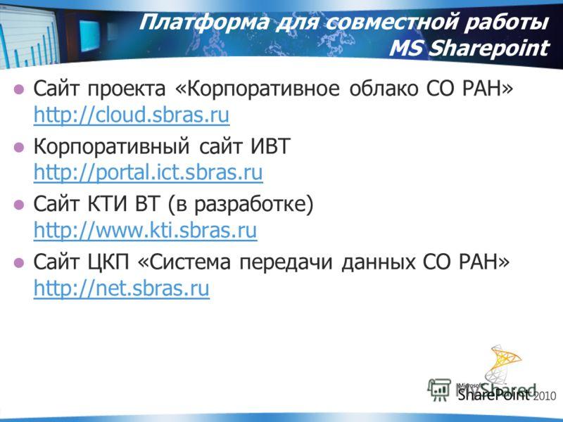 Платформа для совместной работы MS Sharepoint Сайт проекта «Корпоративное облако СО РАН» http://cloud.sbras.ru http://cloud.sbras.ru Корпоративный сайт ИВТ http://portal.ict.sbras.ru http://portal.ict.sbras.ru Сайт КТИ ВТ (в разработке) http://www.kt