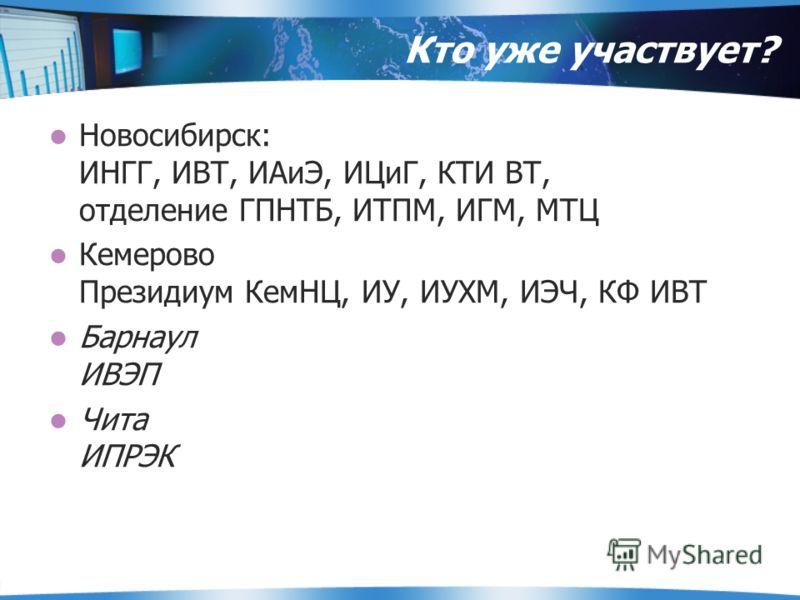 Кто уже участвует? Новосибирск: ИНГГ, ИВТ, ИАиЭ, ИЦиГ, КТИ ВТ, отделение ГПНТБ, ИТПМ, ИГМ, МТЦ Кемерово Президиум КемНЦ, ИУ, ИУХМ, ИЭЧ, КФ ИВТ Барнаул ИВЭП Чита ИПРЭК