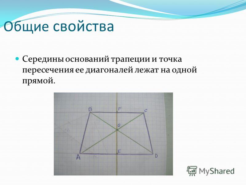 Общие свойства Середины оснований трапеции и точка пересечения ее диагоналей лежат на одной прямой.