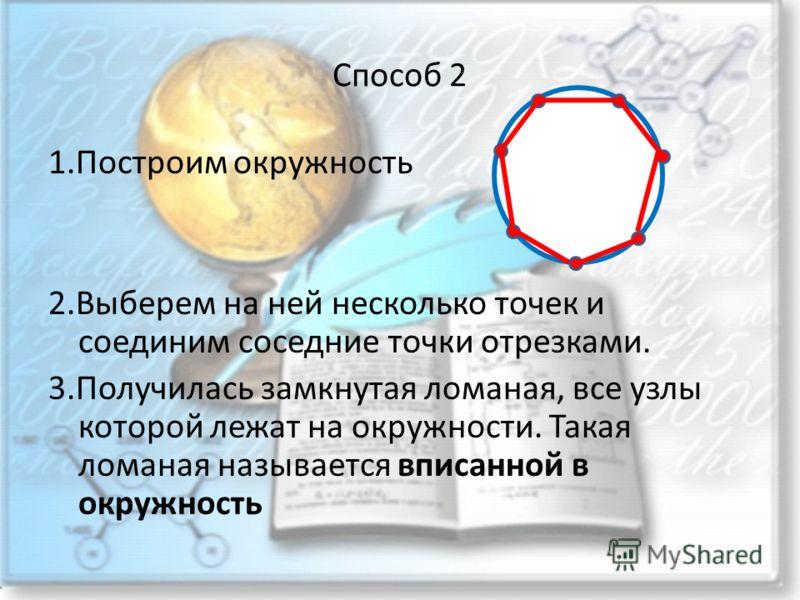 Способ 2 1.Построим окружность 2.Выберем на ней несколько точек и соединим соседние точки отрезками. 3.Получилась замкнутая ломаная, все узлы которой лежат на окружности. Такая ломаная называется вписанной в окружность