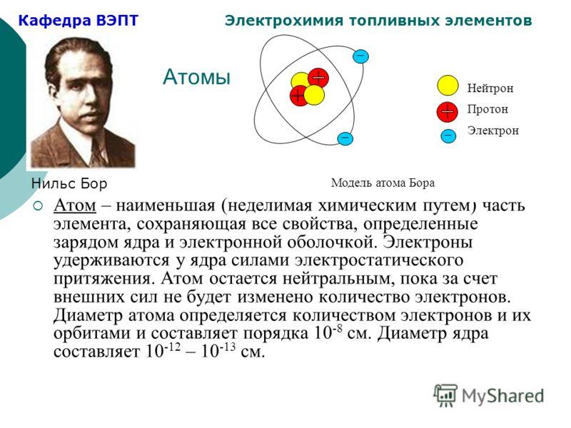 Кафедра ВЭПТ Электрохимия топливных элементов Атомы Атом – наименьшая (неделимая химическим путем) часть элемента, сохраняющая все свойства, определенные зарядом ядра и электронной оболочкой. Электроны удерживаются у ядра силами электростатического п