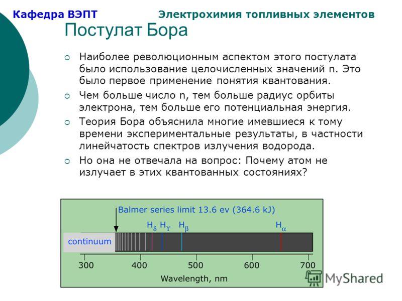 Кафедра ВЭПТ Электрохимия топливных элементов Постулат Бора Наиболее революционным аспектом этого постулата было использование целочисленных значений n. Это было первое применение понятия квантования. Чем больше число n, тем больше радиус орбиты элек
