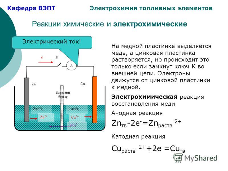 Кафедра ВЭПТ Электрохимия топливных элементов Реакции химические и электрохимические Zn Cu ZnSO 4 CuSO 4 Zn 2+ Cu 2+ SO 4 2- Пористый барьер е - К А Электрохимическая реакция восстановления меди Анодная реакция Zn тв -2e - =Zn раств 2+ Катодная реакц