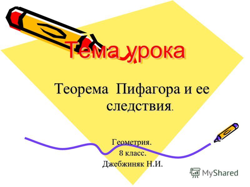 Тема урока Теорема Пифагора и ее следствия. Геометрия. 8 класс. 8 класс. Джебжиняк Н. И. Джебжиняк Н. И.