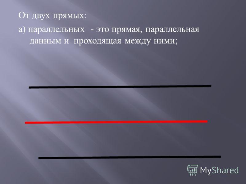 От двух прямых : а ) параллельных - это прямая, параллельная данным и проходящая между ними ;
