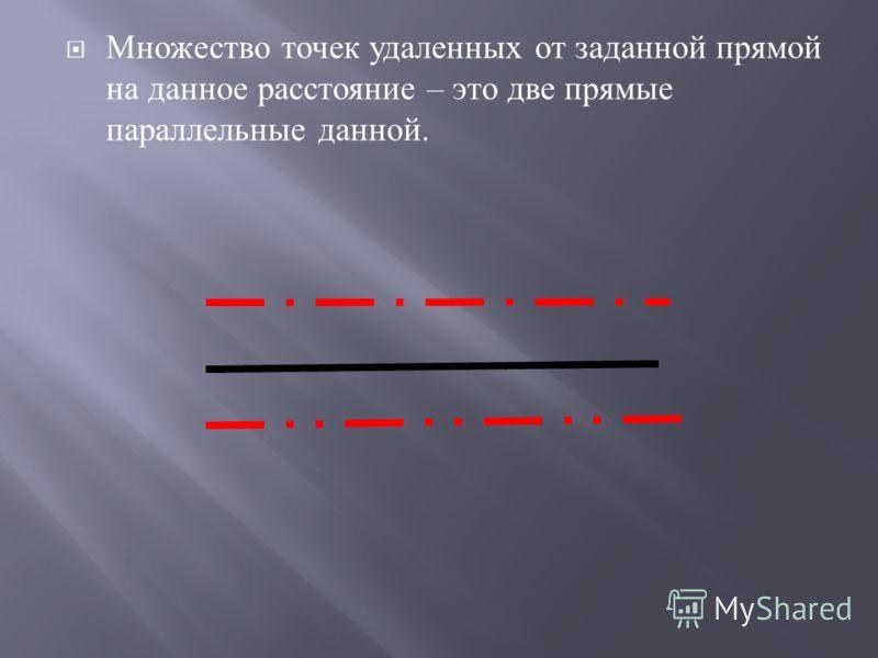 Множество точек удаленных от заданной прямой на данное расстояние – это две прямые параллельные данной.