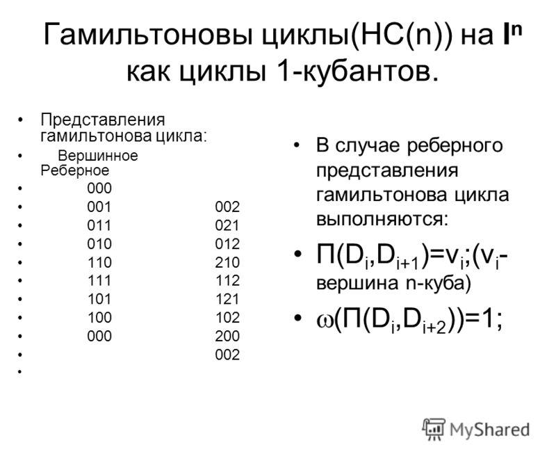 Гамильтоновы циклы(HC(n)) на I n как циклы 1-кубантов. Представления гамильтонова цикла: Вершинное Реберное 000 001 002 011 021 010 012 110 210 111 112 101 121 100 102 000 200 002 В случае реберного представления гамильтонова цикла выполняются: П(D i