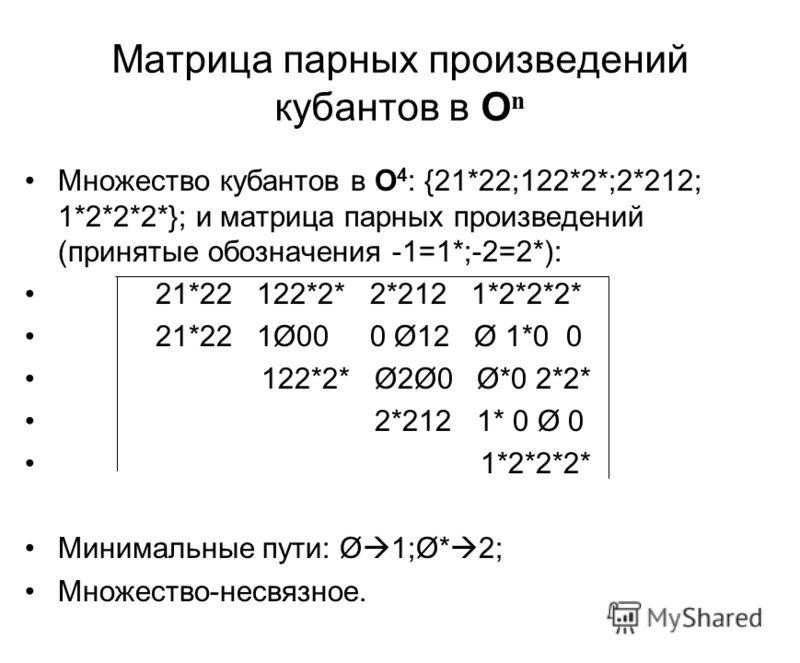 Матрица парных произведений кубантов в O n Множество кубантов в O 4 : {21*22;122*2*;2*212; 1*2*2*2*}; и матрица парных произведений (принятые обозначения -1=1*;-2=2*): 21*22 122*2* 2*212 1*2*2*2* 21*22 1Ø00 0 Ø12 Ø 1*0 0 122*2* Ø2Ø0 Ø*0 2*2* 2*212 1*
