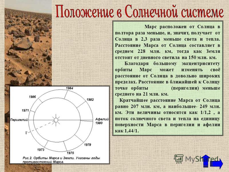 Марс расположен от Солнца в полтора раза меньше, и, значит, получает от Солнца в 2,3 раза меньше света и тепла. Расстояние Марса от Солнца составляет в среднем 228 млн. км, тогда как Земля отстоит от дневного светила на 150 млн. км. Благодаря большом