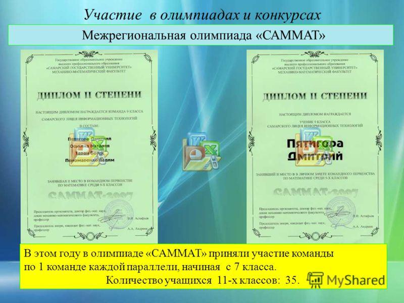 Участие в олимпиадах и конкурсах Межрегиональная олимпиада «САММАТ» В этом году в олимпиаде «САММАТ» приняли участие команды по 1 команде каждой параллели, начиная с 7 класса. Количество учащихся 11-х классов: 35.
