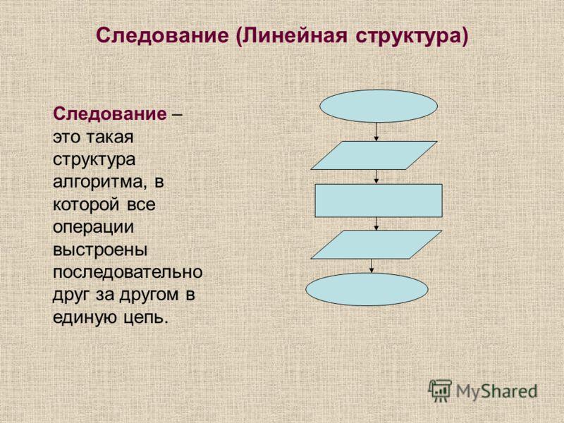 Следование (Линейная структура) Следование – это такая структура алгоритма, в которой все операции выстроены последовательно друг за другом в единую цепь.