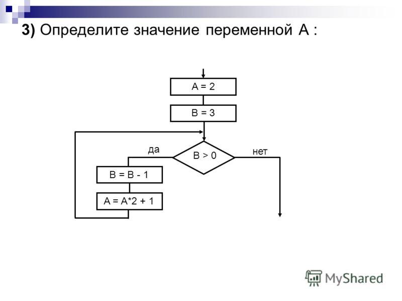 3) Определите значение переменной А : A = 2 B = 3 B = B - 1 A = A*2 + 1 B > 0 да нет
