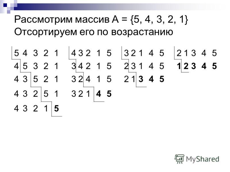 54321432153214521345 45321342152314512345 435213241521345 4325132145 43215 Рассмотрим массив А = {5, 4, 3, 2, 1} Отсортируем его по возрастанию