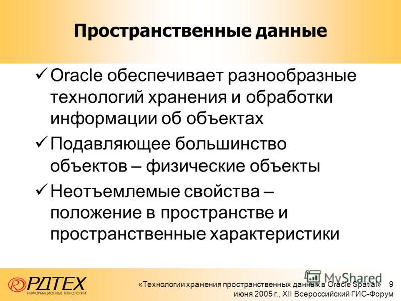 «Технологии хранения пространственных данных в Oracle Spatial» 9 июня 2005 г., XII Всероссийский ГИС-Форум Пространственные данные Oracle обеспечивает разнообразные технологий хранения и обработки информации об объектах Подавляющее большинство объект