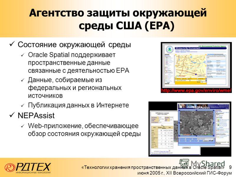 «Технологии хранения пространственных данных в Oracle Spatial» 9 июня 2005 г., XII Всероссийский ГИС-Форум Агентство защиты окружающей среды США (EPA) Состояние окружающей среды Oracle Spatial поддерживает пространственные данные связанные с деятельн