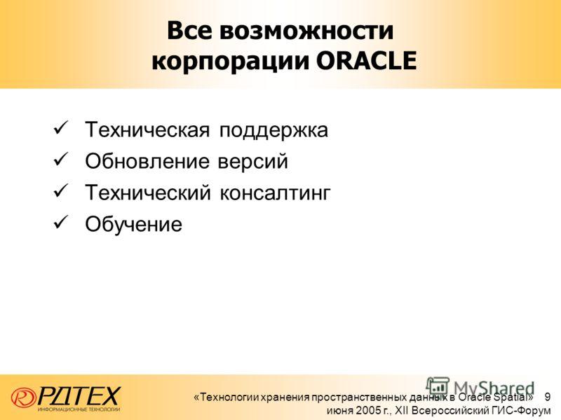 «Технологии хранения пространственных данных в Oracle Spatial» 9 июня 2005 г., XII Всероссийский ГИС-Форум Все возможности корпорации ORACLE Техническая поддержка Обновление версий Технический консалтинг Обучение