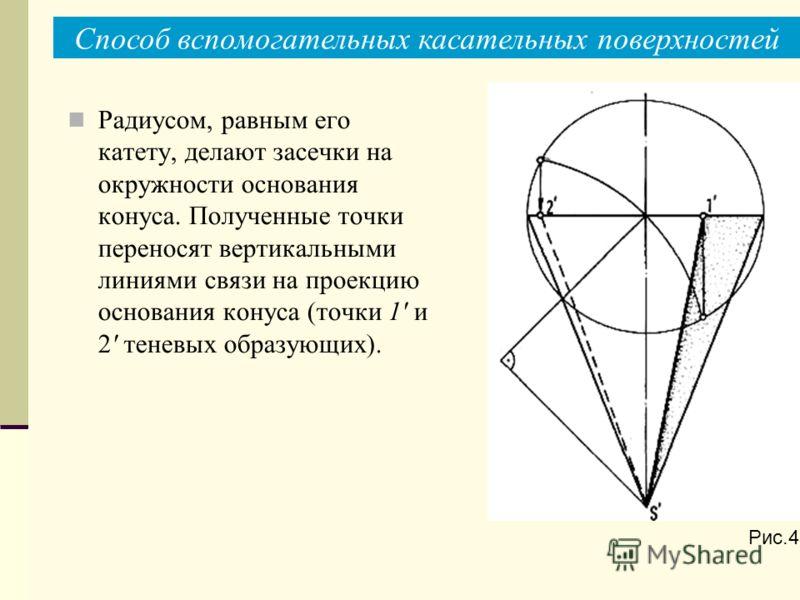 Радиусом, равным его катету, делают засечки на окружности основания конуса. Полученные точки переносят вертикальными линиями связи на проекцию основания конуса (точки 1' и 2' теневых образующих). Рис.4а Способ вспомогательных касательных поверхностей