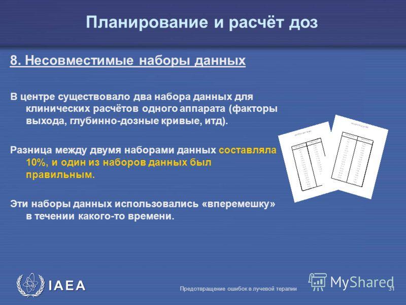 IAEA Предотвращение ошибок в лучевой терапии31 8. Несовместимые наборы данных В центре существовало два набора данных для клинических расчётов одного аппарата (факторы выхода, глубинно-дозные кривые, итд). Разница между двумя наборами данных составля