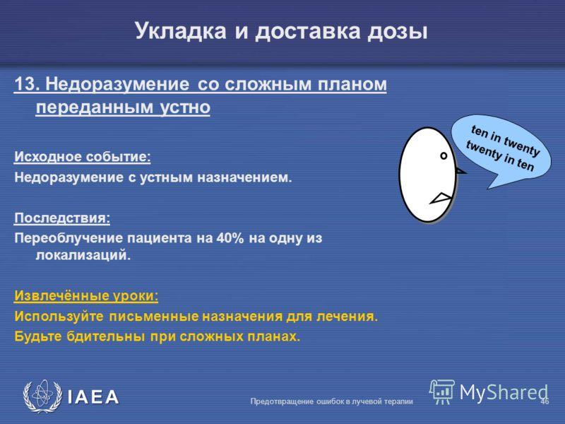 IAEA Предотвращение ошибок в лучевой терапии46 ten in twenty twenty in ten Укладка и доставка дозы 13. Недоразумение со сложным планом переданным устно Исходное событие: Недоразумение с устным назначением. Последствия: Переоблучение пациента на 40% н