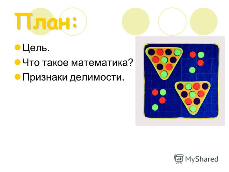 План: Цель. Что такое математика? Признаки делимости.