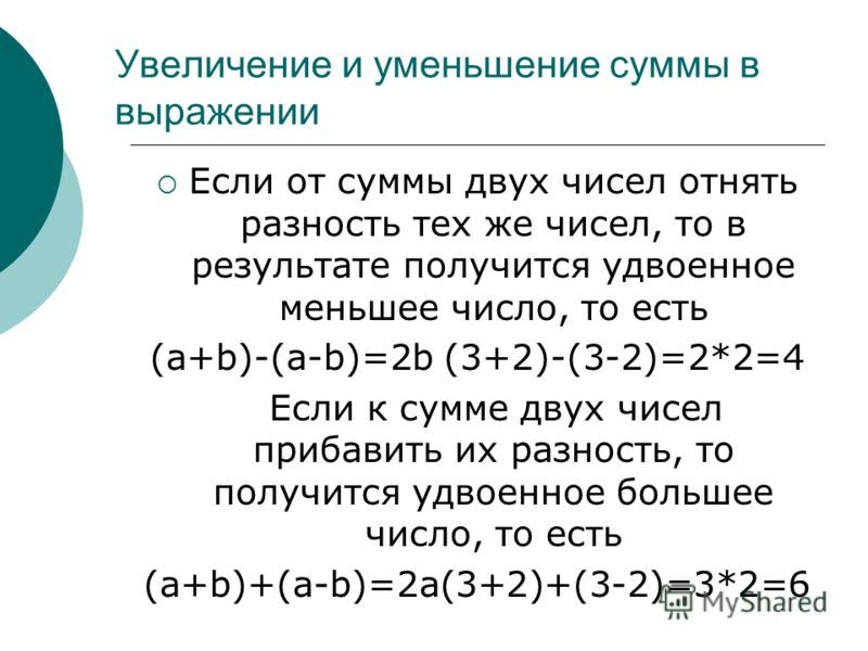 Увеличение и уменьшение суммы в выражении Если от суммы двух чисел отнять разность тех же чисел, то в результате получится удвоенное меньшее число, то есть (a+b)-(a-b)=2b (3+2)-(3-2)=2*2=4 Если к сумме двух чисел прибавить их разность, то получится у