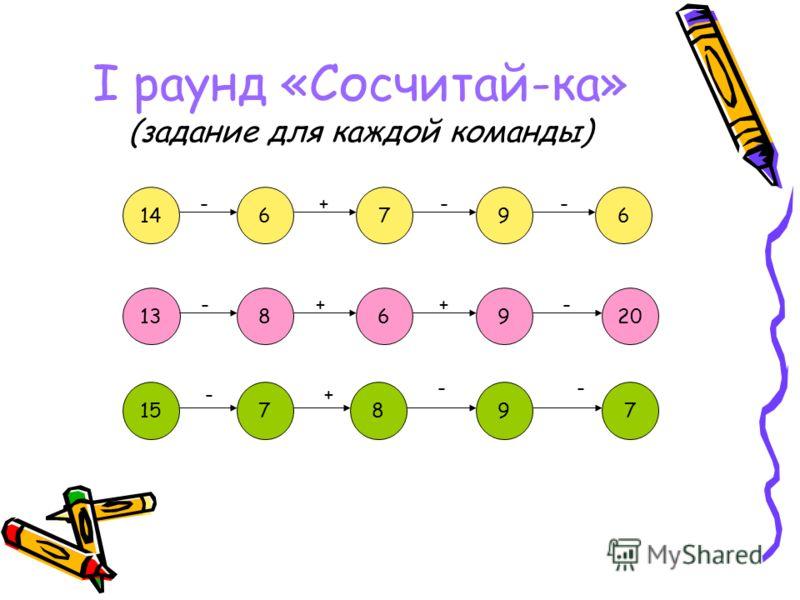 I раунд «Сосчитай-ка» (задание для каждой команды) 967614 -+-- 1389620 -++- 157897 -+ --