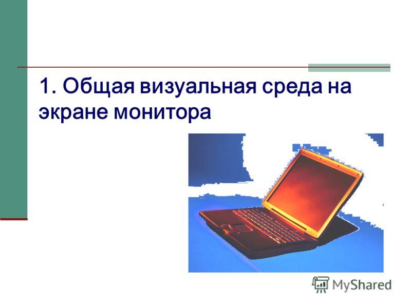 1. Общая визуальная среда на экране монитора