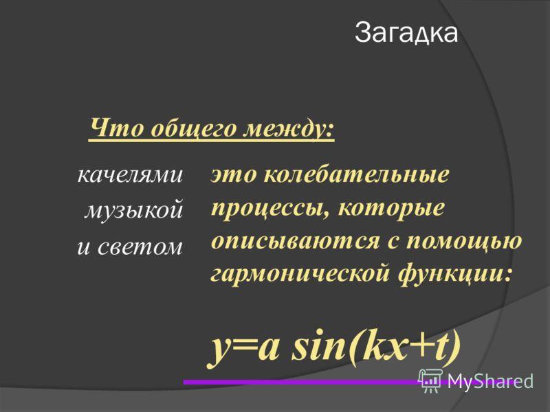 Загадка Что общего между: качелями музыкой и светом это колебательные процессы, которые описываются с помощью гармонической функции: y=a sin(kx+t)