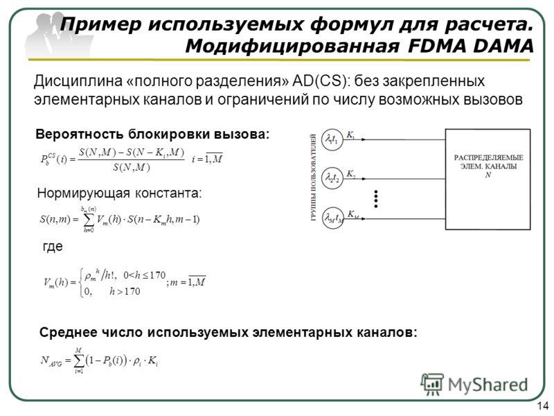 Дисциплина «полного разделения» AD(CS): без закрепленных элементарных каналов и ограничений по числу возможных вызовов 14 Нормирующая константа: Пример используемых формул для расчета. Модифицированная FDMA DAMA Вероятность блокировки вызова: где Сре