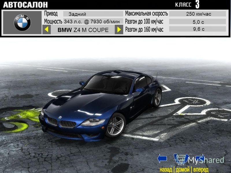 BMW Z4 M COUPE Задний 343 л.с. @ 7930 об/мин 250 км/час 5,0 с 9,6 с 1