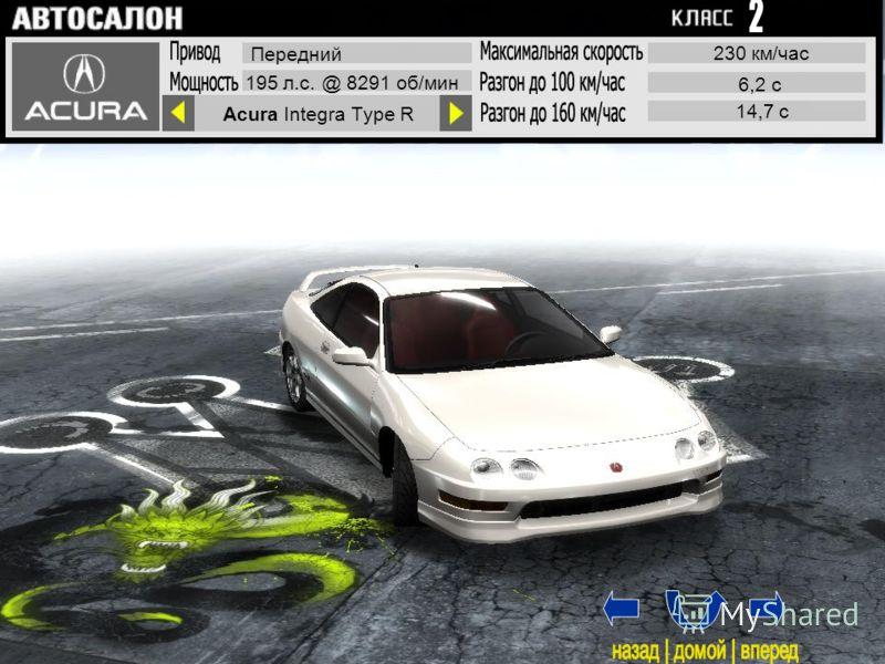 Acura Integra Type R Передний 195 л.с. @ 8291 об/мин 230 км/час 6,2 с 14,7 с 1