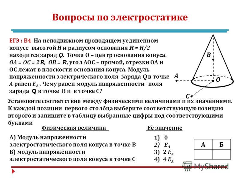 Вопросы по электростатике А В О С ЕГЭ : В 4 На неподвижном проводящем уединенном конусе высотой Н и радиусом основания R = Н /2 находится заряд Q. Точка О – центр основания конуса. ОА = ОС = 2R, ОВ = R, угол АОС – прямой, отрезки ОА и ОС лежат в плос