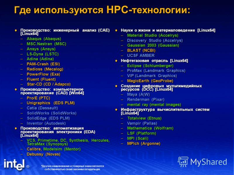 Где используются HPC- технологии: Производство: инженерный анализ (CAE) [Linux64] Производство: инженерный анализ (CAE) [Linux64] –Abaqus (Abaqus) –MSC.Nastran (MSC) –Ansys (Ansys) –LS-Dyna (LSTC) –Adina (Adina) –PAM-Crash (ESI) –Radioss (Mecalog) –P