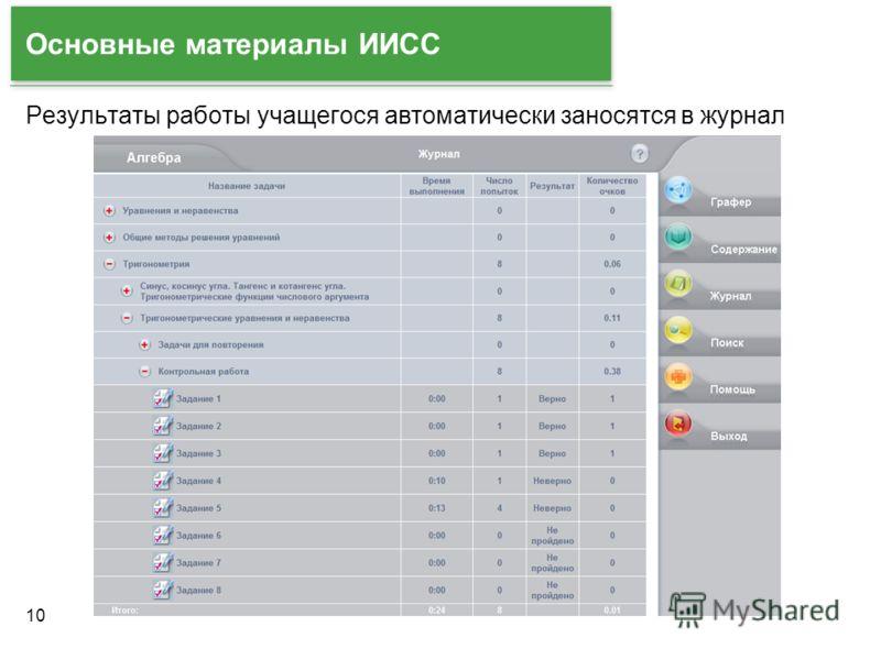 10 Основные материалы ИИСС Результаты работы учащегося автоматически заносятся в журнал