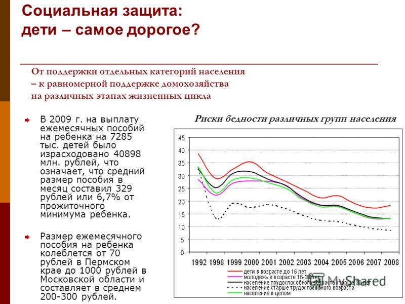 В 2009 г. на выплату ежемесячных пособий на ребенка на 7285 тыс. детей было израсходовано 40898 млн. рублей, что означает, что средний размер пособия в месяц составил 329 рублей или 6,7% от прожиточного минимума ребенка. Размер ежемесячного пособия н