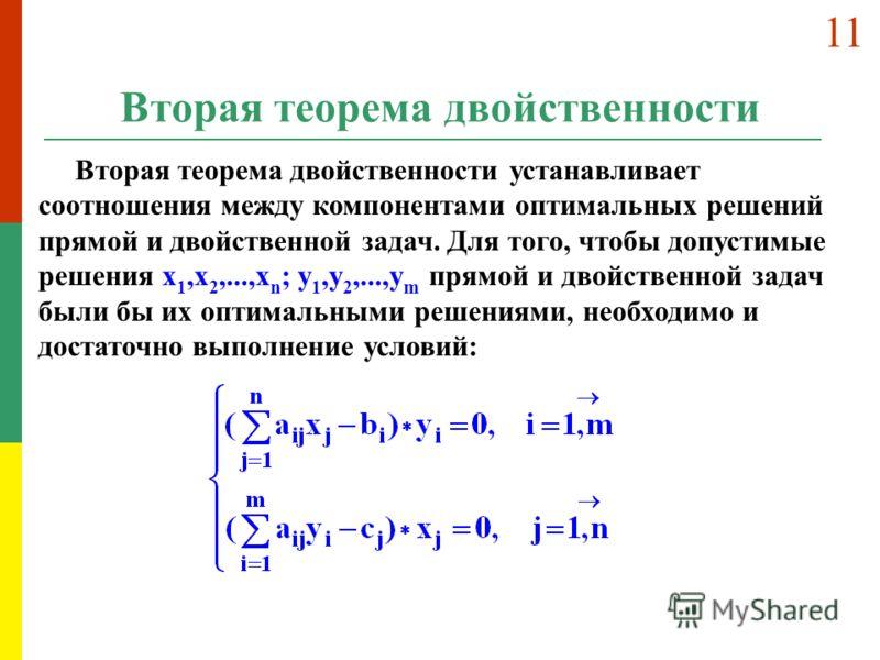 Вторая теорема двойственности Вторая теорема двойственности устанавливает соотношения между компонентами оптимальных решений прямой и двойственной задач. Для того, чтобы допустимые решения x 1,x 2,...,x n ; y 1,y 2,...,y m прямой и двойственной задач