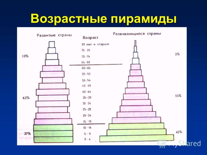Типы возрастной структуры населения 1.Прогрессивная – большая доля детей. 2.Стационарная – равновесная. 3.Регрессивная – большая доля старших возрастов.