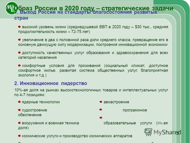 3 Образ России в 2020 году – стратегические задачи 1. Выход России на стандарты благосостояния развитых стран высокий уровень жизни (среднедушевой ВВП в 2020 году – $30 тыс., средняя продолжительность жизни – 72-75 лет) увеличение в два с половиной р