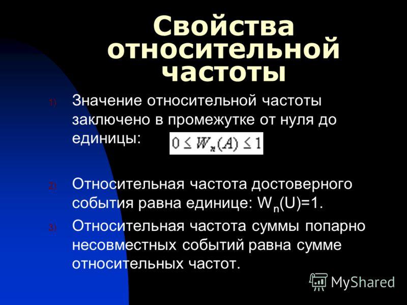 Свойства относительной частоты 1) Значение относительной частоты заключено в промежутке от нуля до единицы: 2) Относительная частота достоверного события равна единице : W n (U)=1. 3) Относительная частота суммы попарно несовместных событий равна сум