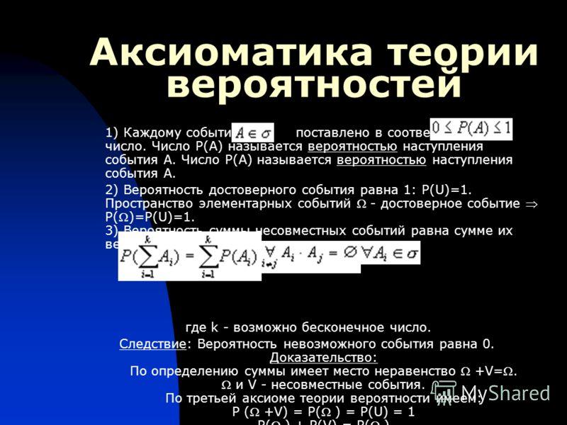 Аксиоматика теории вероятностей 1) Каждому событию поставлено в соответствие число. Число P(A) называется вероятностью наступления события A. Число P(A) называется вероятностью наступления события A. 2) Вероятность достоверного события равна 1: Р(U)=