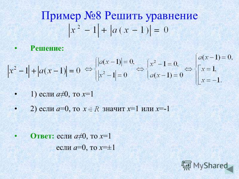 Пример 8 Решить уравнение Решение: 1) если а0, то х=1 2) если а=0, то x значит х=1 или х=-1 Ответ: если а0, то х=1 если а=0, то х=±1