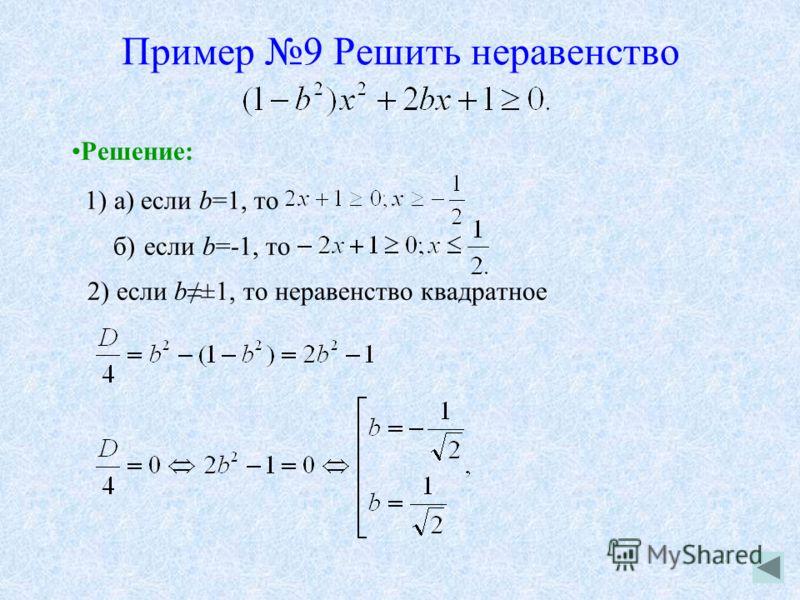 Пример 9 Решить неравенство Решение: 1) a) если b=1, то б) если b=-1, то 2) если b±1, то неравенство квадратное