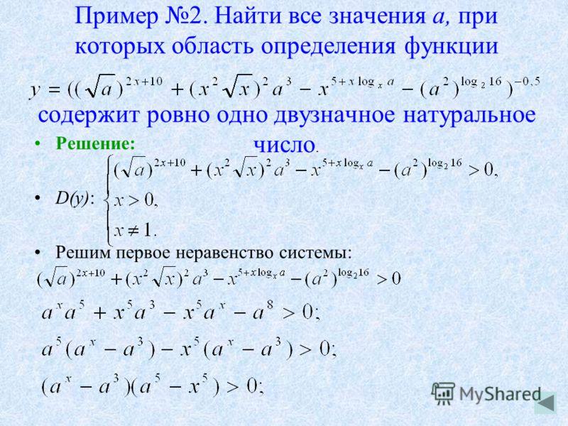 Пример 2. Найти все значения а, при которых область определения функции содержит ровно одно двузначное натуральное число. Решение: D(y): Решим первое неравенство системы: