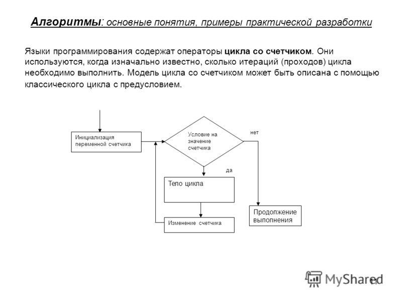 11 Алгоритмы: основные понятия, примеры практической разработки Языки программирования содержат операторы цикла со счетчиком. Они используются, когда изначально известно, сколько итераций (проходов) цикла необходимо выполнить. Модель цикла со счетчик