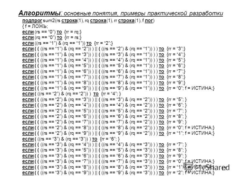17 Алгоритмы: основные понятия, примеры практической разработки подпрог sum2(rs строка(1), rq строка(1), rr строка(1), f лог) { f = ЛОЖЬ; если (rs == 0) то {rr = rq;} если (rq == 0) то {rr = rs;} если ((rs == 1) & (rq == 1)) то {rr = 2;} если ( ( ((r