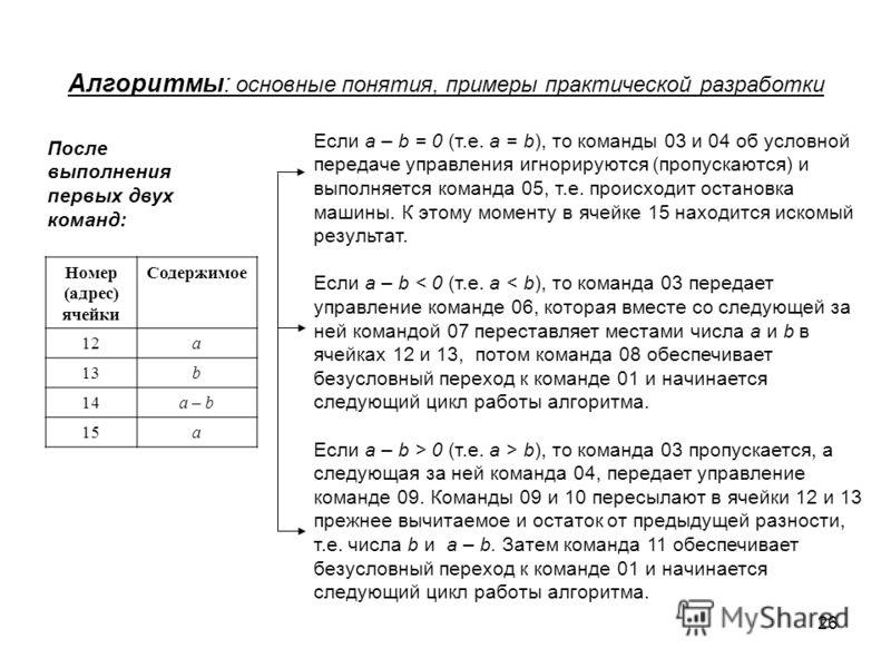 26 Алгоритмы: основные понятия, примеры практической разработки Номер (адрес) ячейки Содержимое 12a 13b 14a – b 15a Если a – b = 0 (т.е. a = b), то команды 03 и 04 об условной передаче управления игнорируются (пропускаются) и выполняется команда 05,