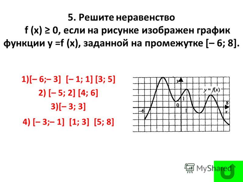 5. Решите неравенство f (х) 0, если на рисунке изображен график функции у =f (х), заданной на промежутке [– 6; 8]. 1)[– 6;– 3] [– 1; 1] [3; 5] 2) [– 5; 2] [4; 6] 3)[– 3; 3] 4) [– 3;– 1] [1; 3] [5; 8]
