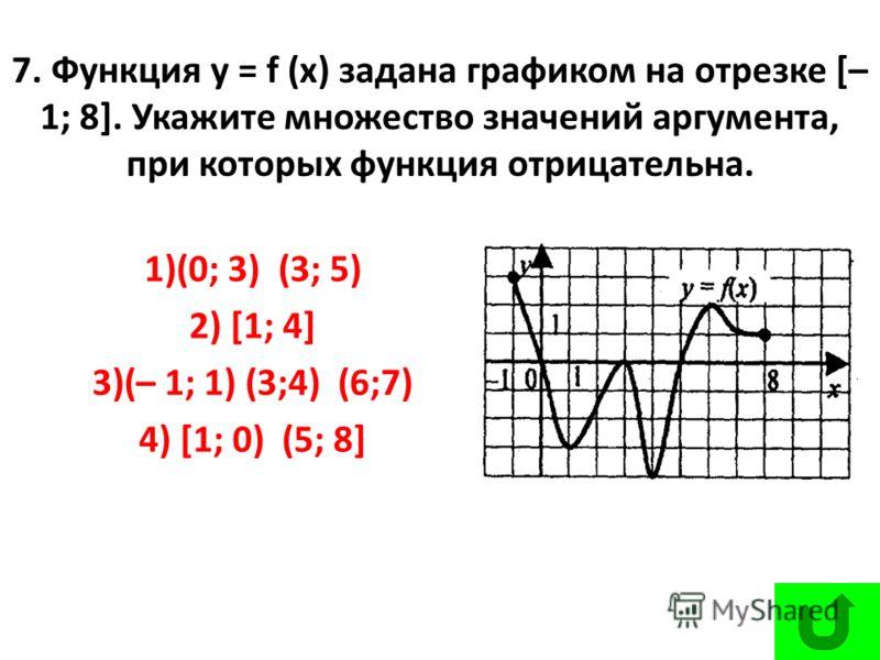 7. Функция у = f (х) задана графиком на отрезке [– 1; 8]. Укажите множество значений аргумента, при которых функция отрицательна. 1)(0; 3) (3; 5) 2) [1; 4] 3)(– 1; 1) (3;4) (6;7) 4) [1; 0) (5; 8]