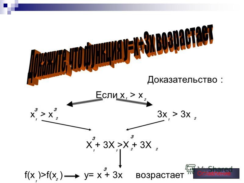 Доказательство : Если х > x х > x3х > 3x Х + 3X >X + 3X f(x )>f(x )y= x + 3x возрастает Оглавление